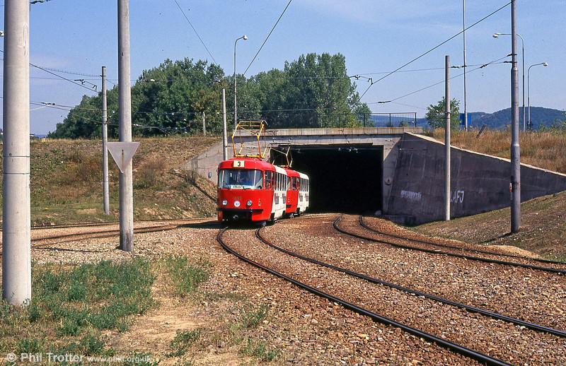 T3 1655 at Bystrc Rakovecká terminus on 17th August 1992. 1653 to 1657 were ex-Prague.