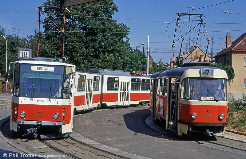 KT8D5 1710 and K2 1070 at Terezy Novákové terminus on 17th August 1992.