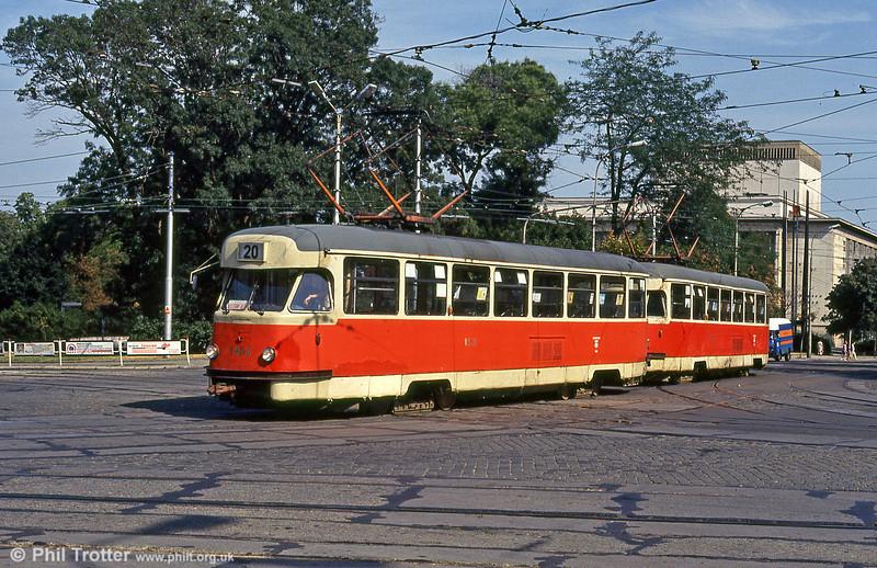 One of the ageing Tatra T2s, built between 1958 and 1962, at Moravské náměstí on 17th August 1992.