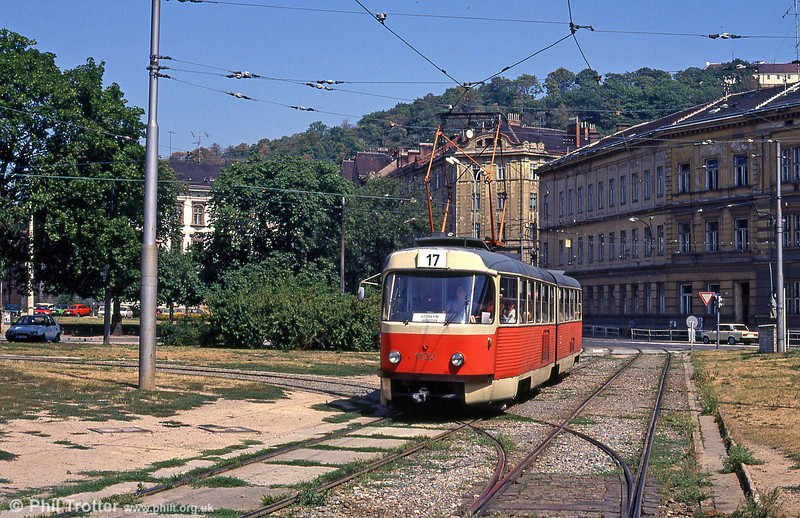 The last, numerically of the K2s was 1132, seen here at Mendlovo náměstí on 17th August 1992.