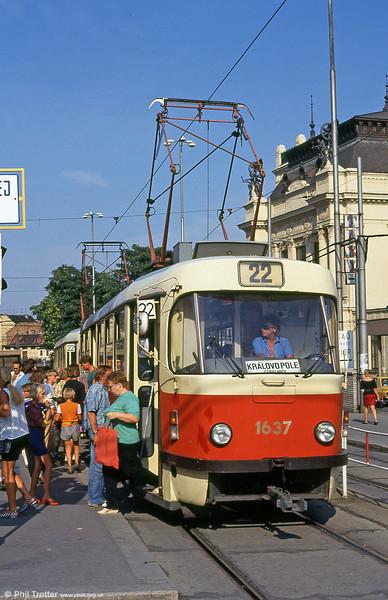 T3 1637 at Hlavní nádraží on 17th August 1992.