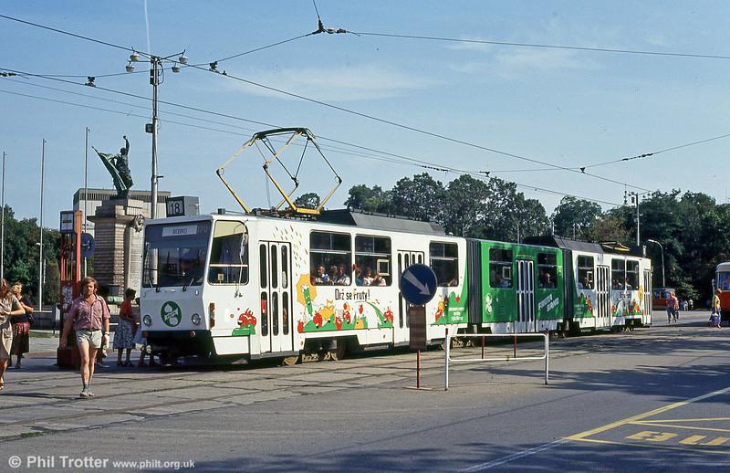 KT8D5 1701 in advertising livery at Moravské náměstí on 17th August 1992.