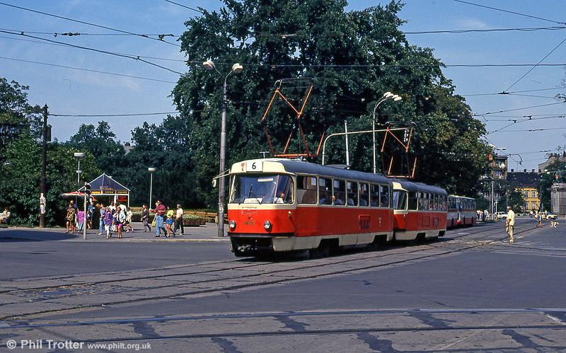 Tatra T3 no. 1497 at Moravské náměstí on 17th August 1992.