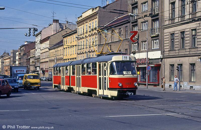 Brno Tatra K2 1003 at Moravské náměstí on 17th August 1992. The K2s were 6 axle 2-section articulated trams built from 1966 to 1983.