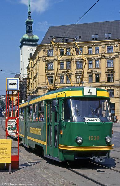 Advertising liveried T3 1530 at náměstí Svobody on 17th August 1992.
