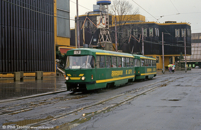 Another view of Tatra T3 no. 72 at Fügnerova, on 19th April 1993.