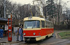 Liberec Tatra T3 no. 36 at the terminus of the long route 11 from Liberec to Jablonec on 19th April 1993.