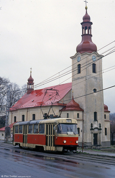Liberec 40 passes the Holy Trinity Church at Vratislovice on 19th April 1993.