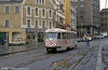 Another view of 55 with badly maintained track, reflecting the neglect of city networks in the early post-communist era, in the centre of Liberec on 19th April 1993.