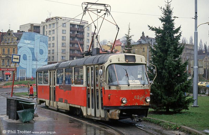 Battered Liberec Tatra T3 no. 42 at Fügnerova terminus, 19th April 1993.