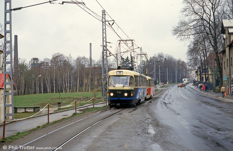Advertising car 74 at at  Vratislovice on 19th April 1993.