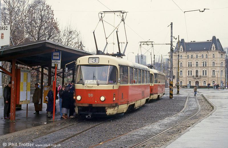 Tatra T3 no. 59 at Fügnerova, on 19th April 1993.