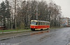 Former Most Tatra T3 no. 35 on a reserved roadside section at Vratislavice on 19th April 1993. Route 5 was a short working to Vratislavice on the Jablonec interurban route. 35 was built by ČKD in Prague as a type T3 in 1976.