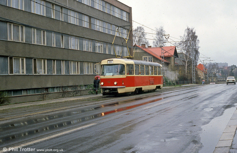 Liberec Tatra T3 no. 36 at Vratislavice on 19th April 1993.