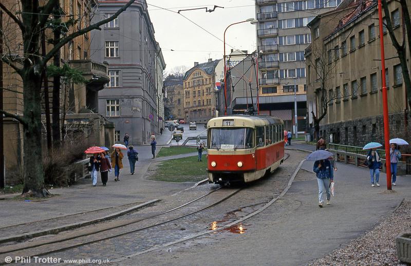Liberec Tatra T3 no. 40 (ex-Prague) in Jablonec on 19th April 1993.