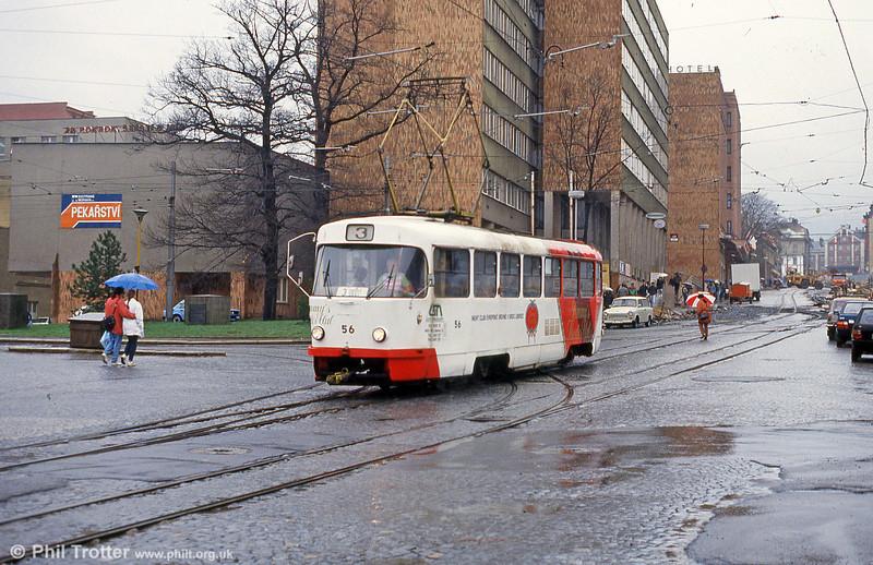 Car 56 at Na Rybníčku in the centre of Liberec on 19th April 1993.