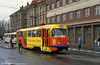 Brightly coloured no. 53 promoting a radio station near Liberec railway station on 19th April 1993.