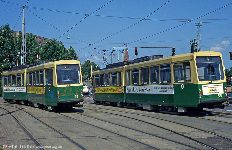 Cars 48 and 55 seen from the rear at Mannerheimvägen on 1st August 1991.