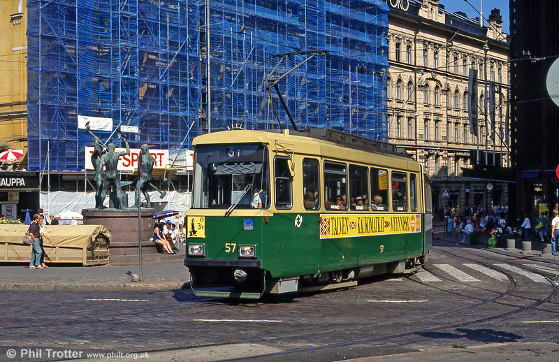 Car 57 at Alexandersgatan on 1st August 1991.
