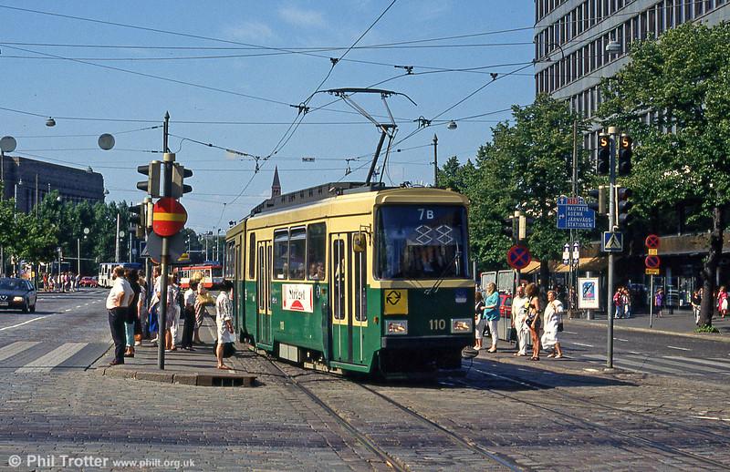 Car 110 at Mannerheimvägen on 1st August 1991.