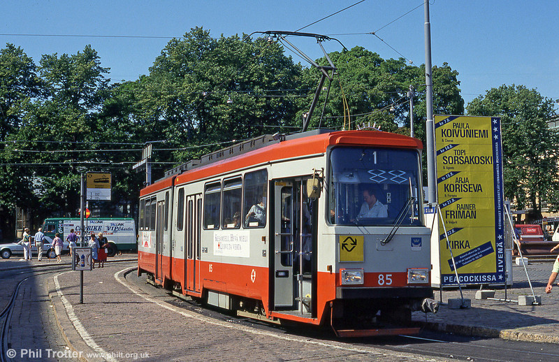 Helsinki car 85 at Kauppatori on 1st August 1991.