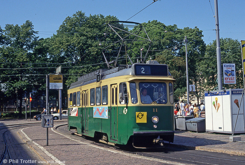 Helsinki car 11 at Kauppatori on 1st August 1991.