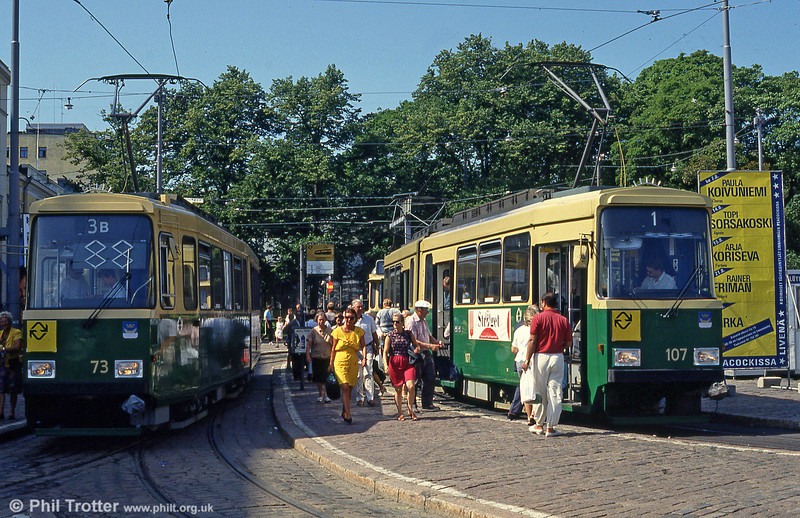 Helsinki cars 73 and 107 at Kauppatori on 1st August 1991.