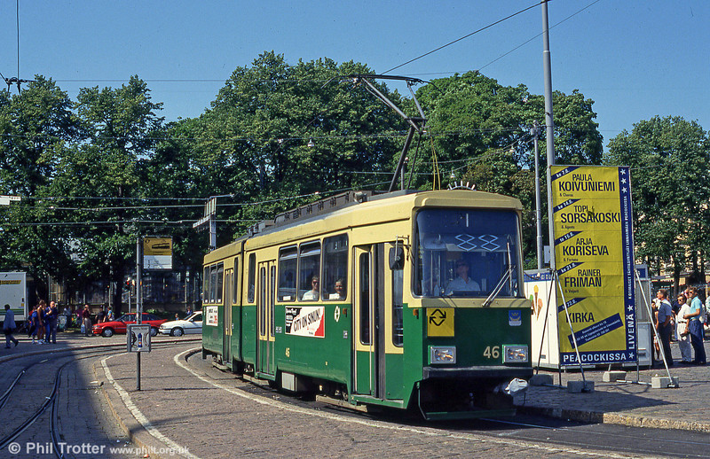 Helsinki car 46 at Kauppatori on 1st August 1991.