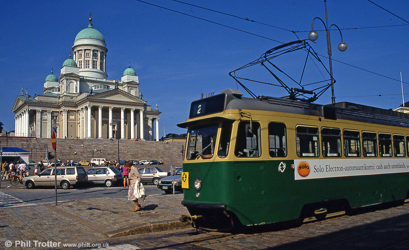The Lutheran Cathedral is one of the principal tourist sights in Helsinki. Car 11 of 1959 at Senaatintori, 1st August 1991.