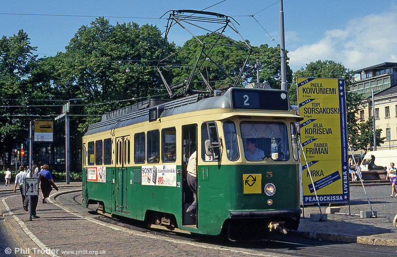 Helsinki car 5 at Kauppatori on 1st August 1991. During the 1950s a total of 105 Finnish-built double-bogie trams were delivered. No. 5 is type HM V.