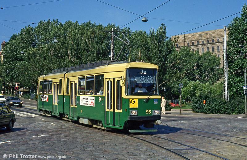 Helsinki car 95 at Arkadiag on 1st August 1991.