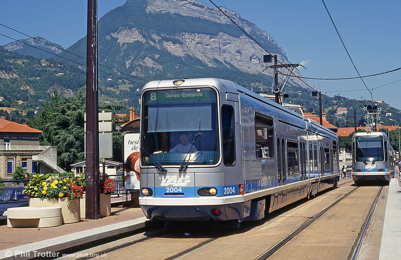 Grenoble 2004 in perfect weather at La Tronche, 28th July 1993. (First published in Light Rail & Modern Tramway, 3/94).
