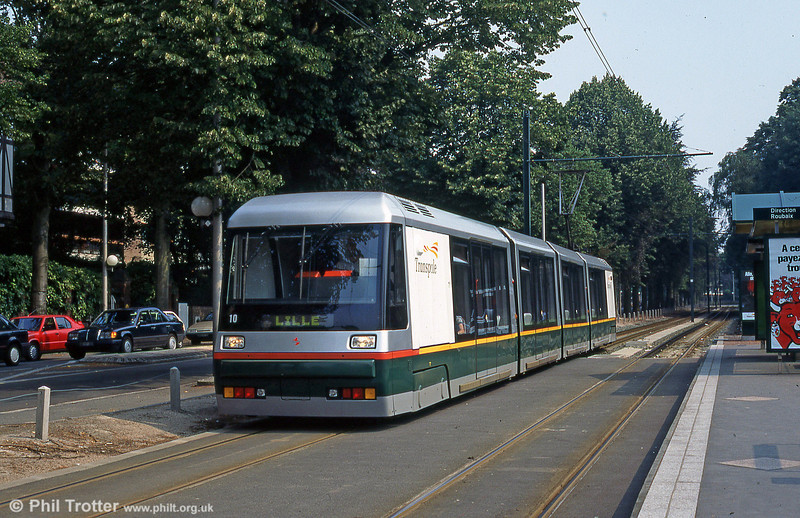 New Lille car 2010 - one of a fleet of 24 - heading for the city centre in August 1995.