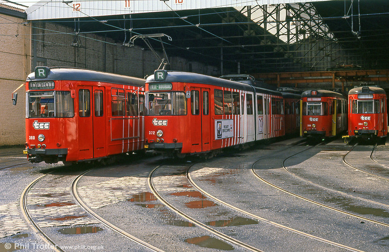 A scene at the old depot at Clemenceau, with Lille TCC cars 369 and 372 to the fore. 28th August, 1989.