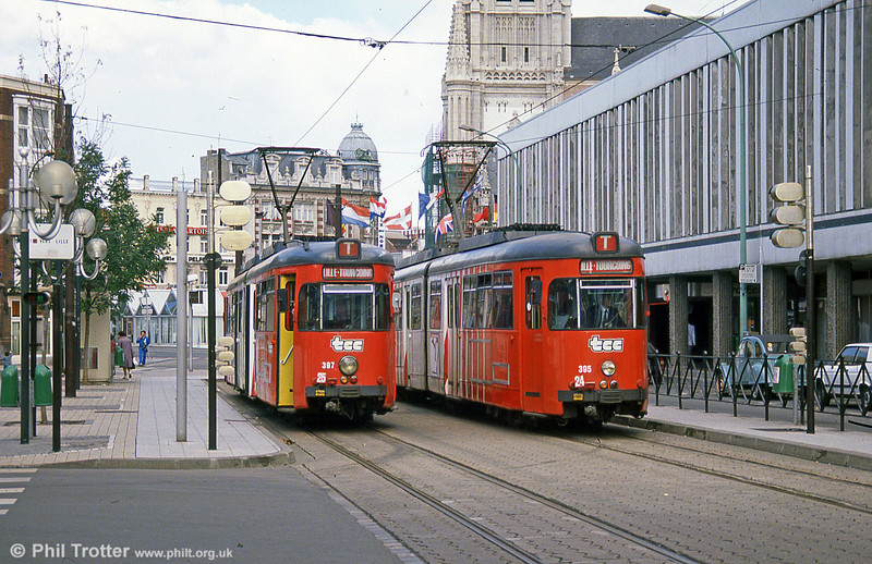 """The old order on the Lille to Tourcoing and Roubaix tramway. The system is known as the """"Mongy"""" after Alfred Mongy the engineer who built the tramway. The system was modernised in 1994 but before that, on 28th August 1989, cars 395 and 397 are seen at Tourcoing terminus."""