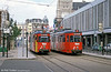 "The old order on the Lille to Tourcoing and Roubaix tramway. The system is known as the ""Mongy"" after Alfred Mongy the engineer who built the tramway. The system was modernised in 1994 but before that, on 28th August 1989, cars 395 and 397 are seen at Tourcoing terminus."