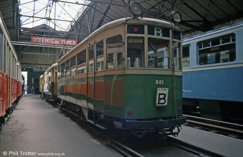 Lille town car 881 of 1935  at the Paris Transport Museum in July 1984.