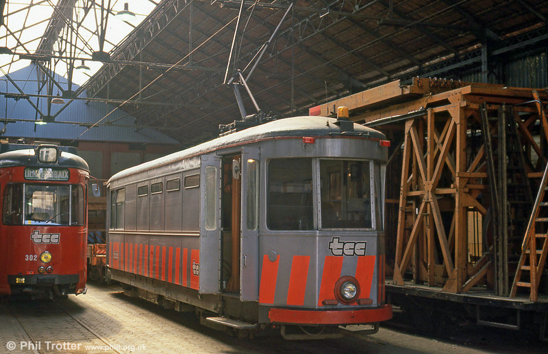 One of the works cars in the depot on 28th August 1989.