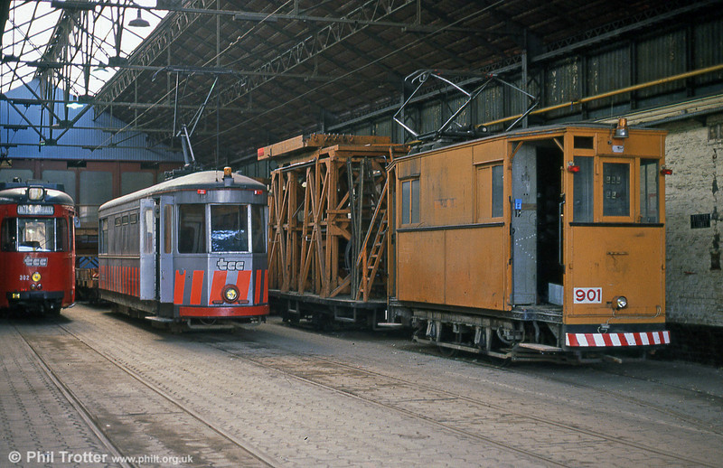 A depot scene with works cars at Clemenceau on 28th August 1989.