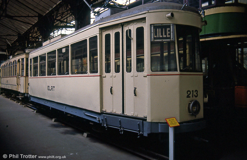 Former Lille ELRT car 213 of 1937 at the Paris Transport Museum in July 1984.