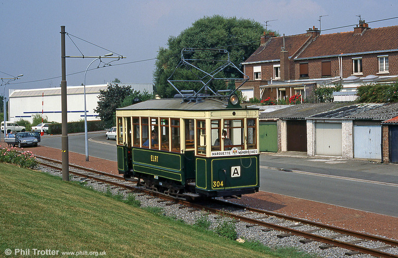 Lille (ELRT/SNELRT) car 304 of 1906 which saw service until 1952. The car is seen at Marquette-lez-Lille with the depot in the background in August 1995.