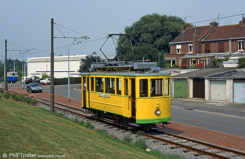 On the AMITRAM heritage tramway at Lille is former Neuchatel car 74 of 1921. Marquette-lez-Lille, August 1995.