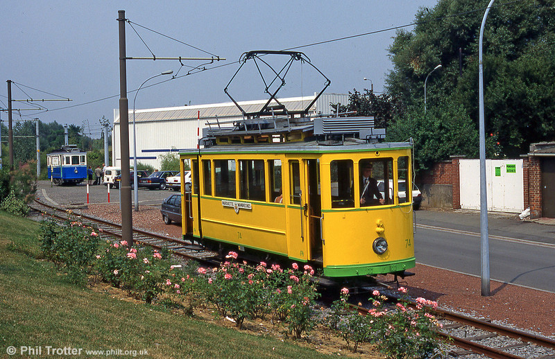 Neuchatel car 74 of 1921 at  Marquette-lez-Lille with Fribourg 5 beyond in August 1995.