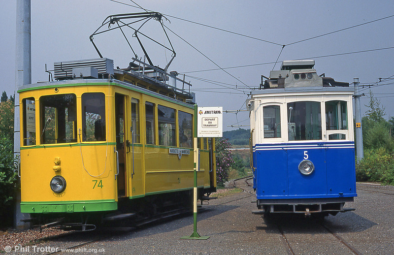 Neuchatel car 74 of 1921 at  Marquette-lez-Lille with Fribourg 5 alongside in August 1995.