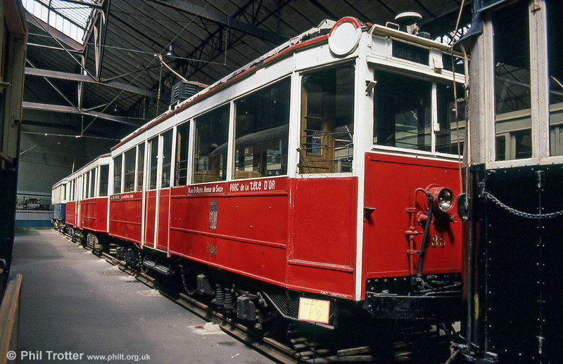 Former Lyon car 386, built in 1926 with Dick-Kerr equipment, at the Paris Transport Museum in July 1984.