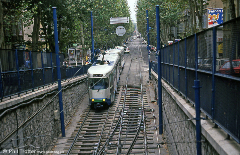 Marseille PCC cars head into the City Centre underground section at Boulevard Chave on 1st September 1989.