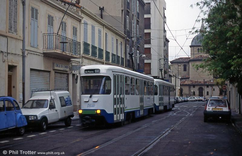Marseille PCC cars in Boulevard Jean Aicard in August 1995.