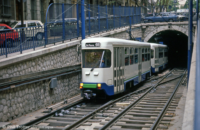 Marseille PCC cars emerge from the City Centre underground section at Boulevard Chave on 1st September 1989.