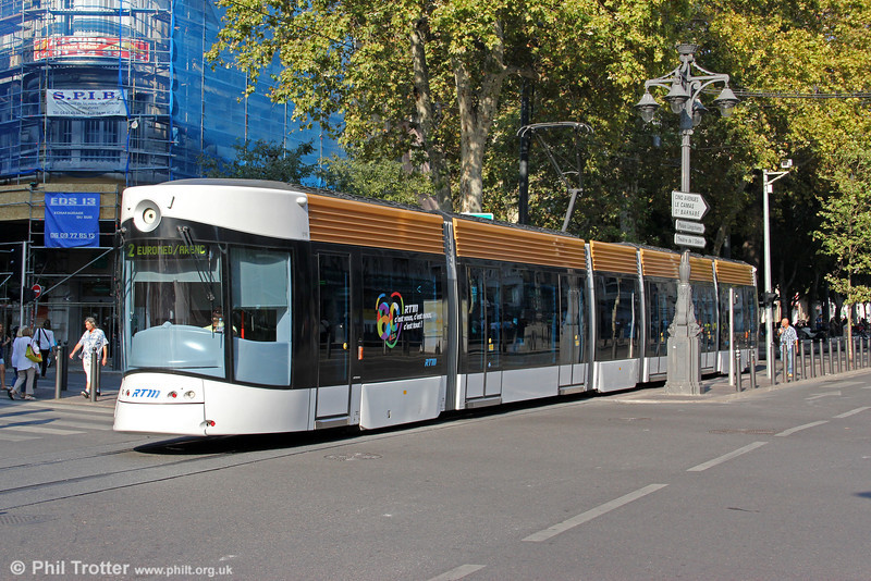 Route 68 was closed in December 2003 to be integrated into the new tram line T1 to La Blancarde and Les Caillols. The new system has opened in stages since 2007. To work the new network, a fleet of 40 distinctive Bombardier Flexity Outlook type C cars has been purchased. One of them is seen at Canebière Garibaldi on 26th September 2011.
