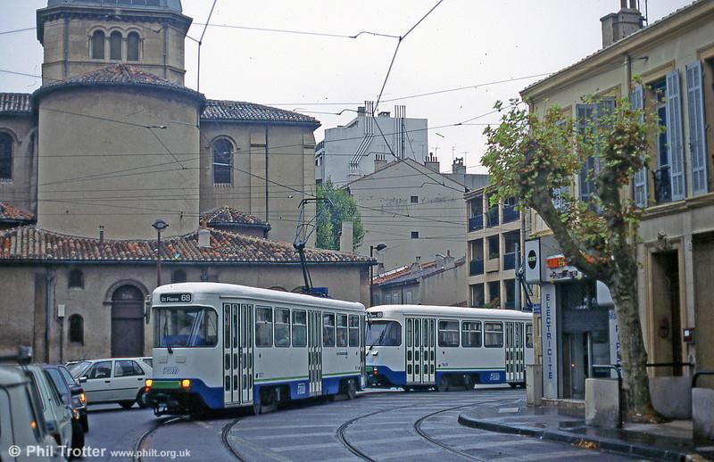 Marseille PCC cars in Boulevard Jean Aicard on August 1995.